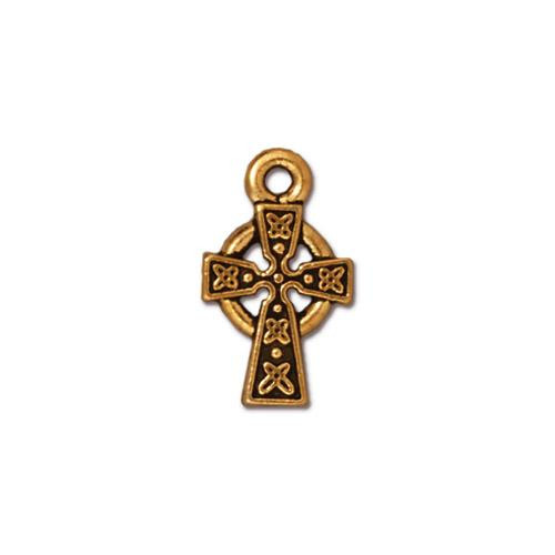 Celtic Cross Charm, Antiqued Gold Plate, 20 per Pack