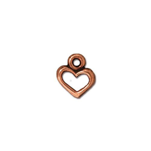 Open Heart Charm, Antiqued Copper Plate, 20 per Pack