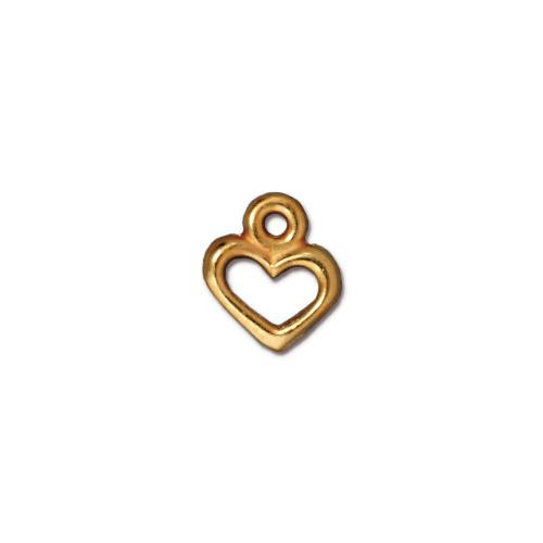 Open Heart Charm, Gold Plate, 20 per Pack