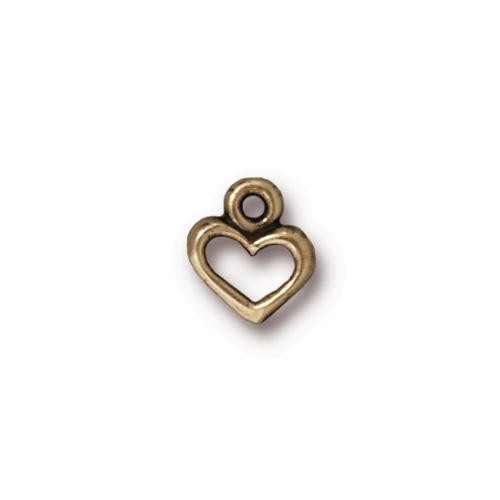 Open Heart Charm, Oxidized Brass Plate, 20 per Pack