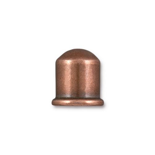 Cupola 8mm Cord End, Antiqued Copper Plate, 10 per Pack