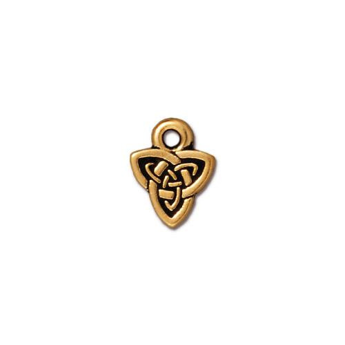 Celtic Triad Charm, Antiqued Gold Plate, 20 per Pack