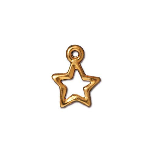 Open Star Charm, Gold Plate, 20 per Pack