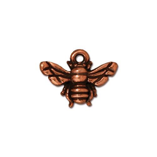 Honeybee Charm, Antiqued Copper Plate, 20 per Pack