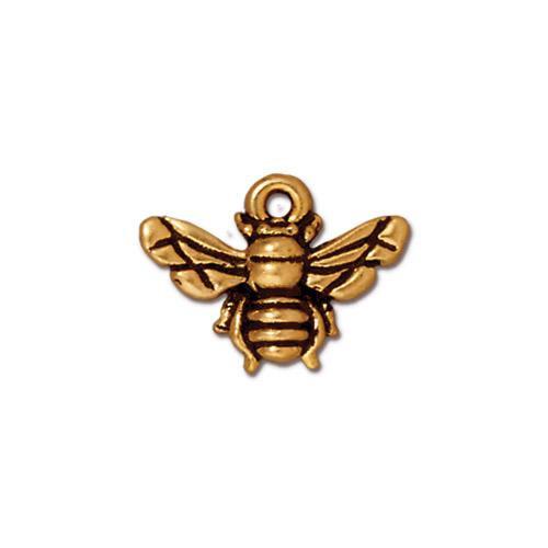 Honeybee Charm, Antiqued Gold Plate, 20 per Pack