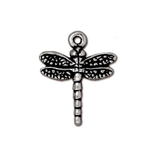 Dragonfly Charm, Antiqued Silver Plate, 20 per Pack
