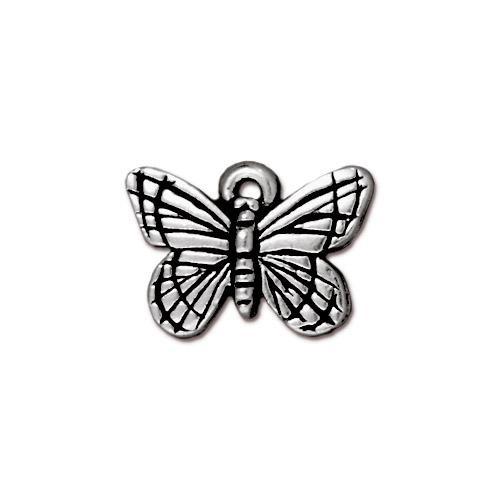 Monarch Butterfly Charm, Antiqued Silver Plate, 20 per Pack
