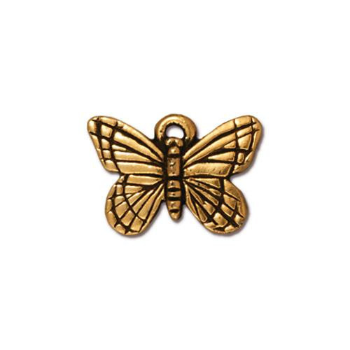 Monarch Butterfly Charm, Antiqued Gold Plate, 20 per Pack