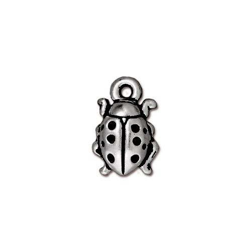 Ladybug Charm, Antiqued Silver Plate, 20 per Pack