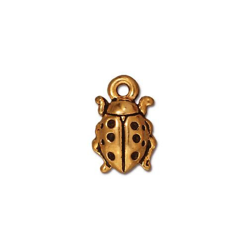 Ladybug Charm, Antiqued Gold Plate, 20 per Pack
