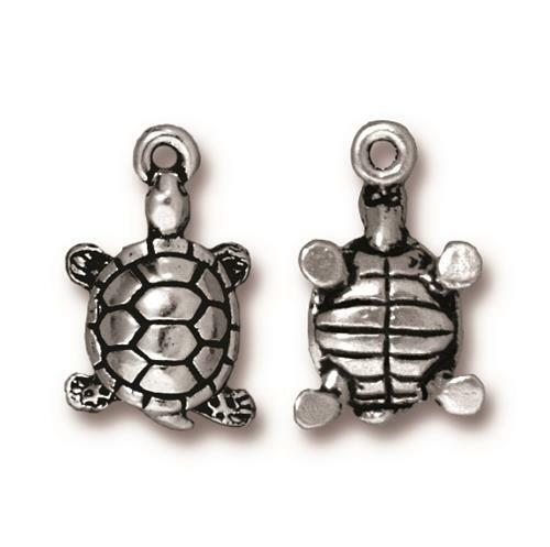 Turtle Charm, Antiqued Silver Plate, 20 per Pack