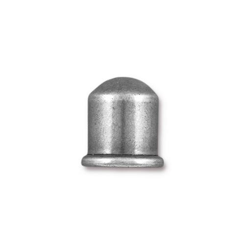Cupola 8mm Cord End, Oxidized Tin Plate, 10 per Pack