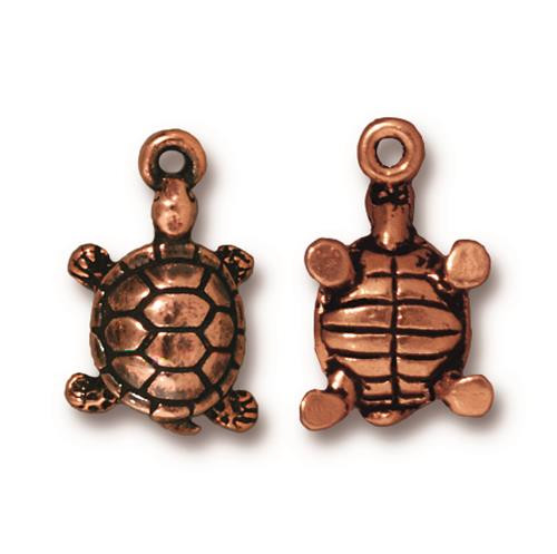 Turtle Charm, Antiqued Copper Plate, 20 per Pack