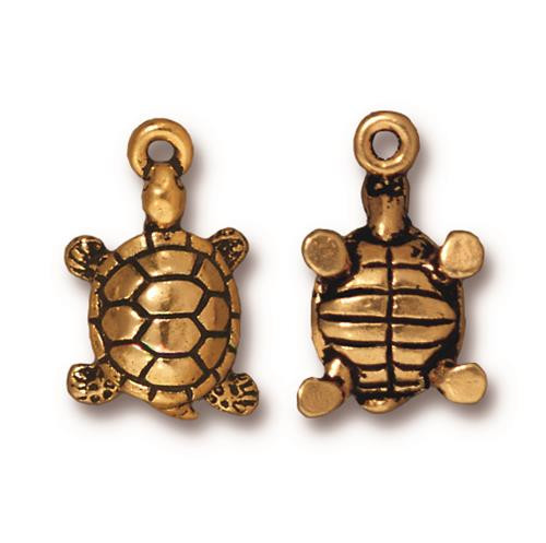 Turtle Charm, Antiqued Gold Plate, 20 per Pack