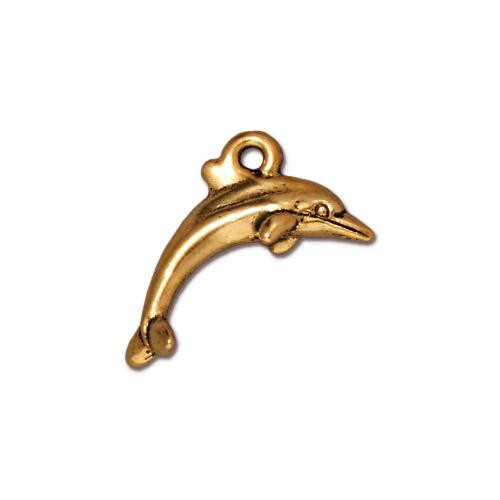 Dolphin Charm, Antiqued Gold Plate, 20 per Pack