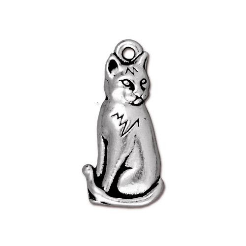 Sitting Cat Charm, Antiqued Silver Plate, 10 per Pack