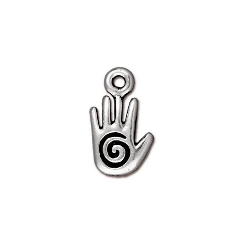 Small Spiral Hand Charm, Antiqued Silver Plate, 20 per Pack