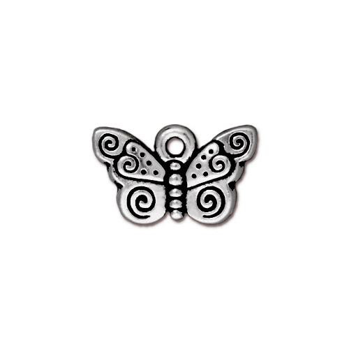 Spiral Butterfly Charm, Antiqued Silver Plate, 20 per Pack