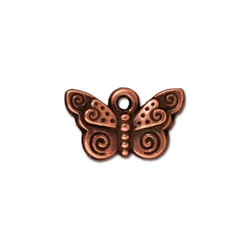 Spiral Butterfly Charm, Antiqued Copper Plate, 20 per Pack