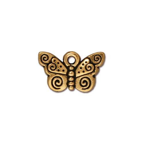 Spiral Butterfly Charm, Antiqued Gold Plate, 20 per Pack