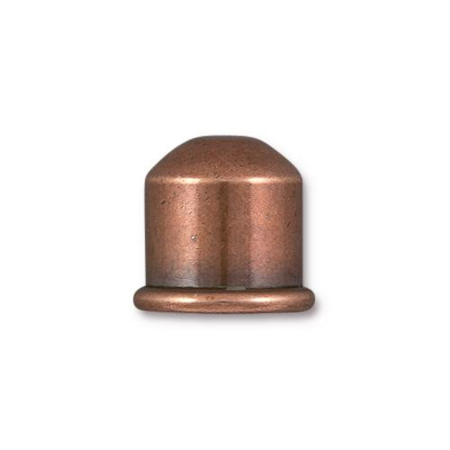 Cupola 10mm Cord End, Antiqued Copper Plate, 10 per Pack
