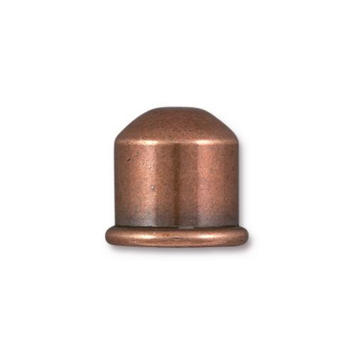Cupola 10mm Cord End, Antiqued Copper Plate, 10 per Pack