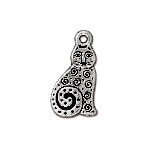 Spiral Cat Charm, Antiqued Silver Plate, 20 per Pack