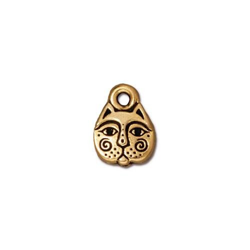 Kitty Face Charm, Antiqued Gold Plate, 20 per Pack