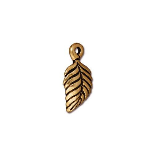 Birch Leaf Charm, Antiqued Gold Plate, 20 per Pack