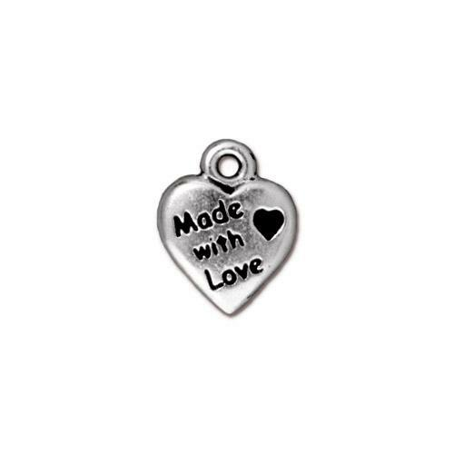 Made with Love Charm, Antiqued Silver Plate, 20 per Pack