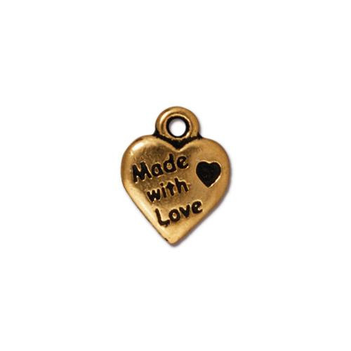 Made with Love Charm, Antiqued Gold Plate, 20 per Pack