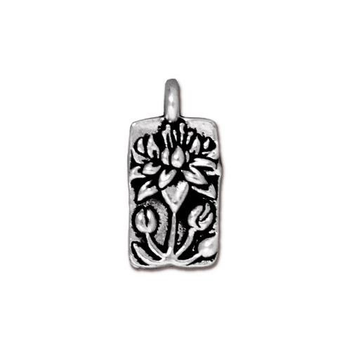 Floating Lotus Charm, Antiqued Silver Plate, 20 per Pack
