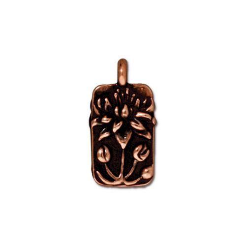 Floating Lotus Charm, Antiqued Copper Plate, 20 per Pack
