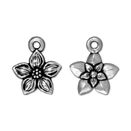 Star Jasmine Charm, Antiqued Silver Plate, 20 per Pack