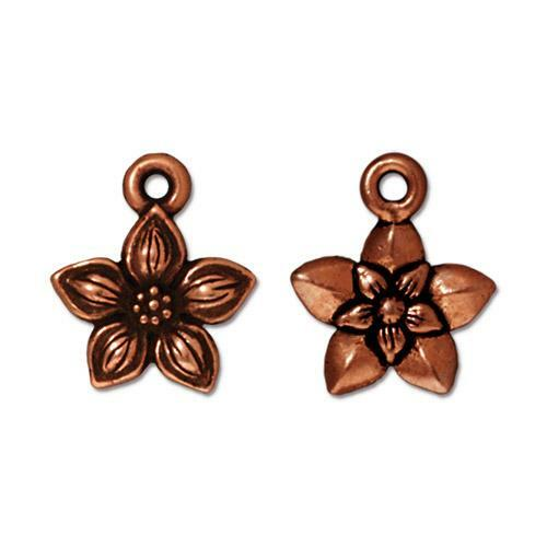 Star Jasmine Charm, Antiqued Copper Plate, 20 per Pack