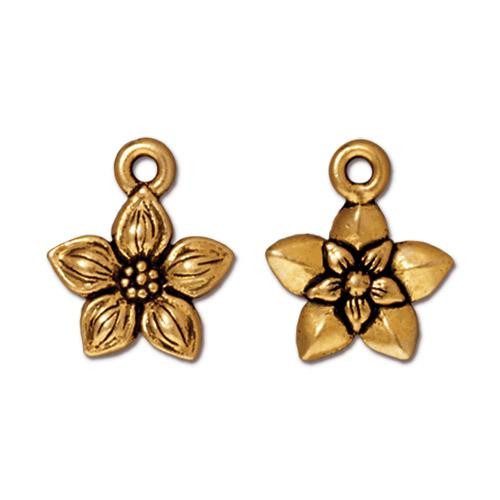 Star Jasmine Charm, Antiqued Gold Plate, 20 per Pack