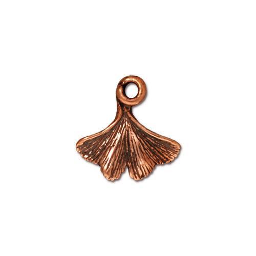 Ginkgo Leaf Charm, Antiqued Copper Plate, 20 per Pack
