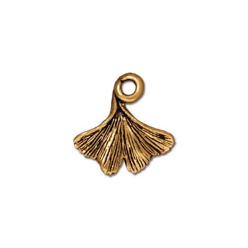 Ginkgo Leaf Charm, Antiqued Gold Plate, 20 per Pack