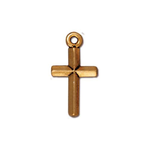 Classic Cross Charm, Antiqued Gold Plate, 20 per Pack