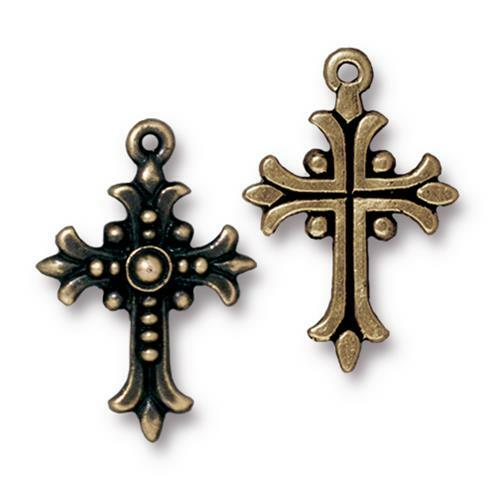 Fleur Cross Charm, Oxidized Brass Plate, 20 per Pack