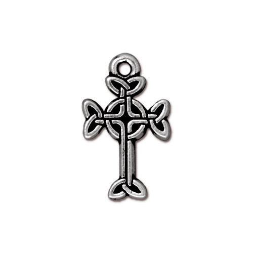 Medium Celtic Cross Charm, Antiqued Silver Plate, 20 per Pack