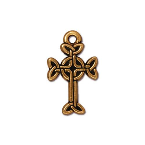 Medium Celtic Cross Charm, Antiqued Gold Plate, 20 per Pack
