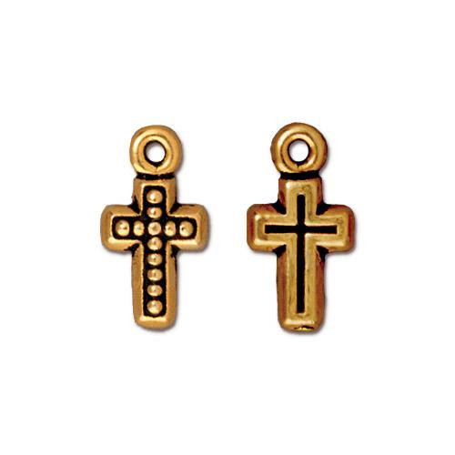 Beaded Cross Charm, Antiqued Gold Plate, 20 per Pack