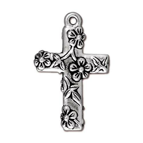 Floral Cross Charm, Antiqued Silver Plate, 20 per Pack