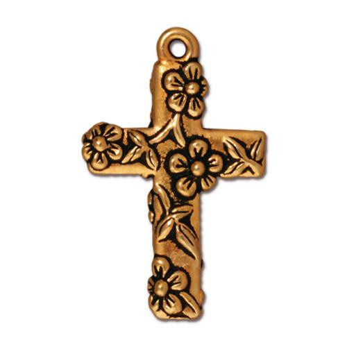 Floral Cross Charm, Antiqued Gold Plate, 20 per Pack