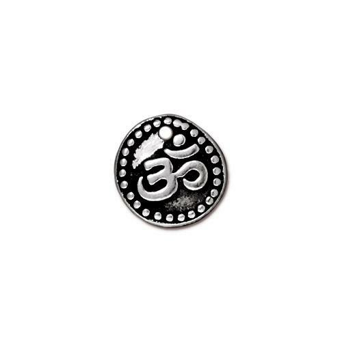 Om Coin Charm, Antiqued Silver Plate, 20 per Pack
