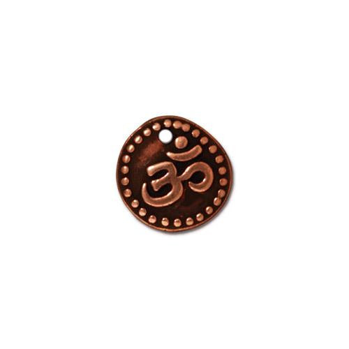 Om Coin Charm, Antiqued Copper Plate, 20 per Pack