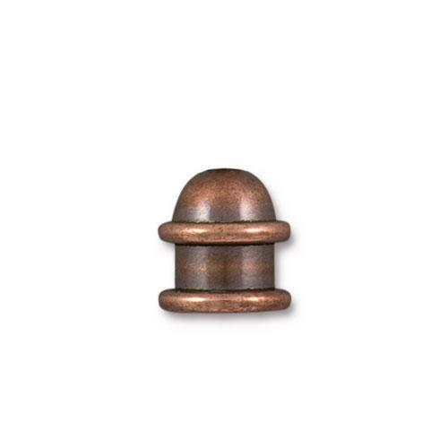 Capitol 6mm Cord End, Antiqued Copper Plate, 20 per Pack