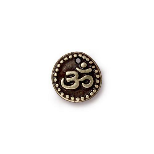 Om Coin Charm, Oxidized Brass Plate, 20 per Pack