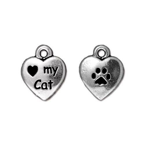 Love My Cat Charm, Antiqued Silver Plate, 20 per Pack